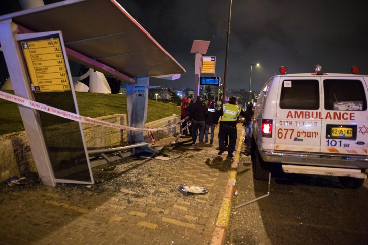 The scene where several people were injured when a car crashed into a bus station at the french hill junction in Jerusalem on April 15, 2015. Photo by Yonatan Sindel/Flash90