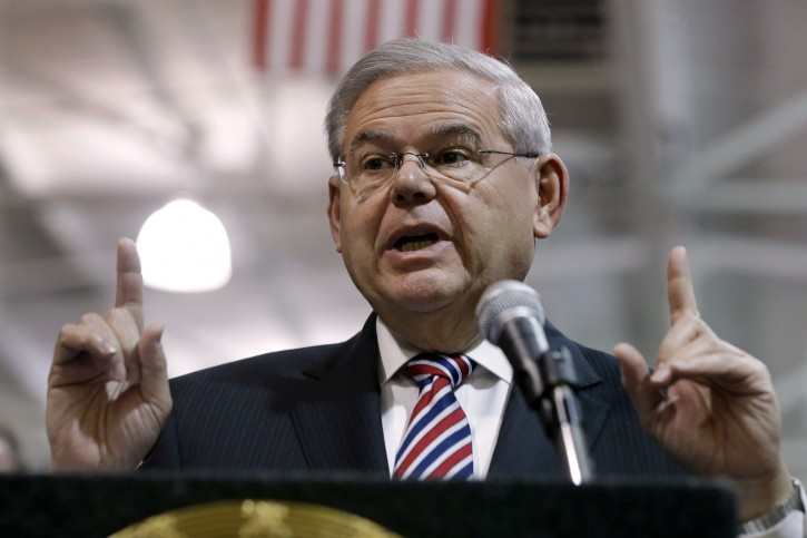 FILE - In this March 23, 2015 file photo, Sen. Robert Menendez, D-NJ speaks in Garwood, N.J. Menendez has been indicted on federal corruption charges.(AP Photo/Mel Evans, File)