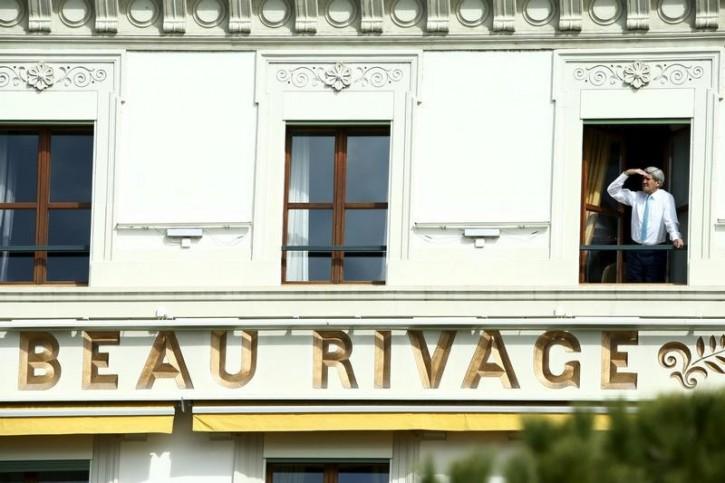 U S Secretary Of State John Kerry Looks Out His Room At The Beau Rivage Palace