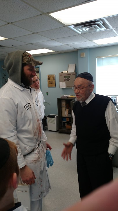 Rabbi Dr. Moshe Dovid Tendler with Michael Bierig from the Bierig Brothers veal plant in Vineland, New Jersey on Chol Hamoed Pesach 2015