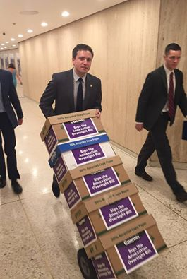 A photo posted by Assemblyman James Skoufis on Facebook this afternoon shows Skoufis delivering five boxes on a hand truck to the governor's office.