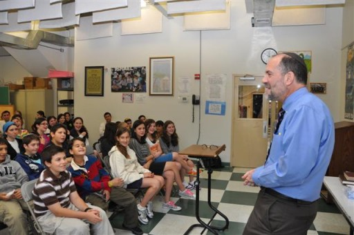 FILE - Rabbi Jonathan Rosenblatt, the head rabbi of the Riverdale Jewish Center, in 2010 addresses the seventh and eighth graders for his annual talk between Shabbat Shuva and Yom Kippur.