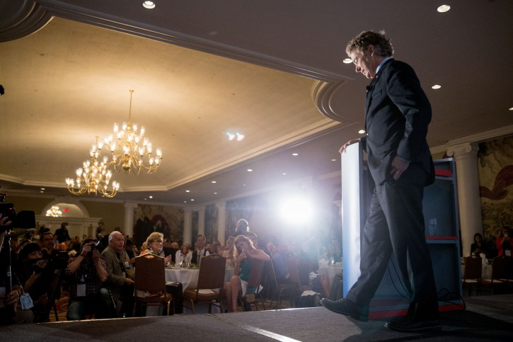 Republican presidential candidate, Sen. Rand Paul, R-Ky., speaks during the Road to Majority 2015 convention in Washington, Thursday, June 18, 2015. (AP Photo/Andrew Harnik)