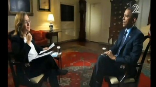 US President Barack Obama discusses emerging nuclear deal between Iran and world powers and US-Israeli relations with Israeli journalist Illana Dayan.(Screenshot)