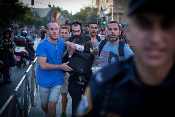 Police arrest Yishai Schlissel suspected of stabbing six people at the annual Jerusalem pride parade. Schlissel was just released from a 10 year jail term for stabbing three people at gay pride parade in 2005. July 30, 2015. Photo byFLASH90