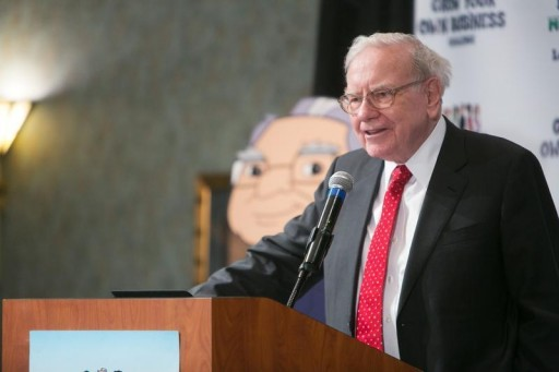 FILE - Warren Buffett speaks at his Secret Millionaires Club 'Grow Your Own Business Challenge' in Omaha, Nebraska, United States, May 18, 2015. REUTERS