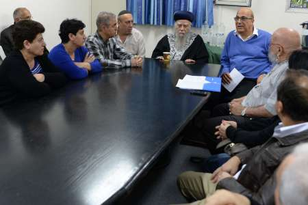 FILE - The families of the murdered Iranian Jews in 2014 meeting with Rabbis. (Kobi GideonGPO)
