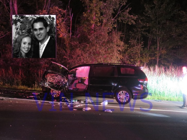 The van involved in an accident last night that seriously injured Misha and Estee Rapaport (insert photo) (Vinnews.com)