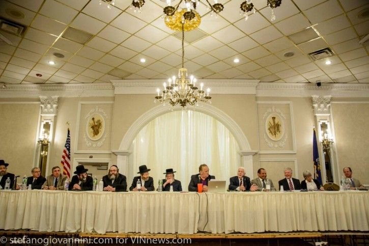 FILE - FILE - Board members of Kiryas Joel and Town Of Monroe at the annexation hearing June 10, 2015.