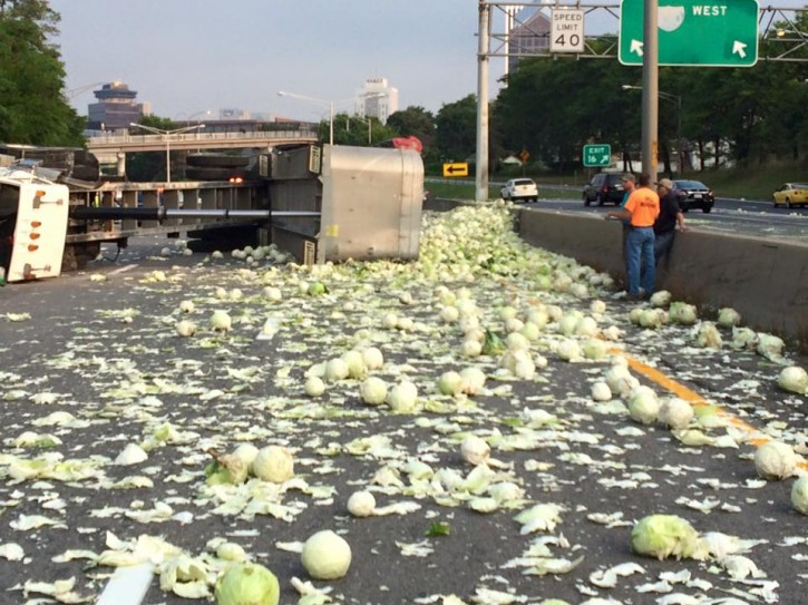 NY State Troopers are on the scene of a tractor trailer roll over on I -490 east bound near Goodman Street. (NYSP)