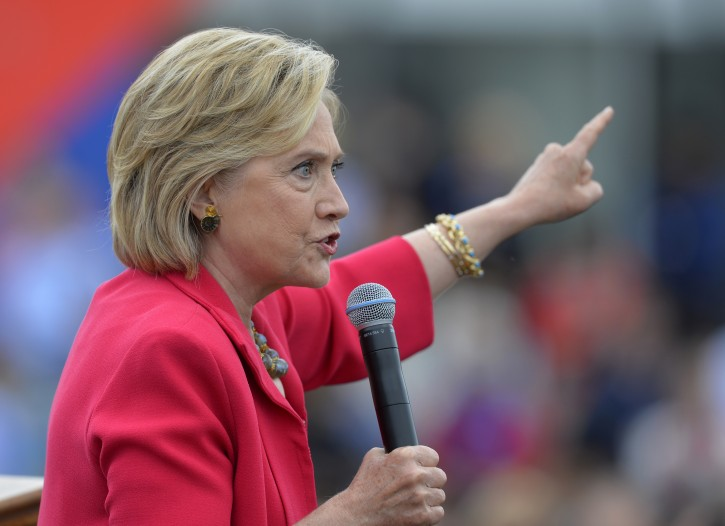 In this photo taken Aug. 27, 2015, Democratic presidential candidate Hillary Rodham Clinton speaks in Cleveland.  AP