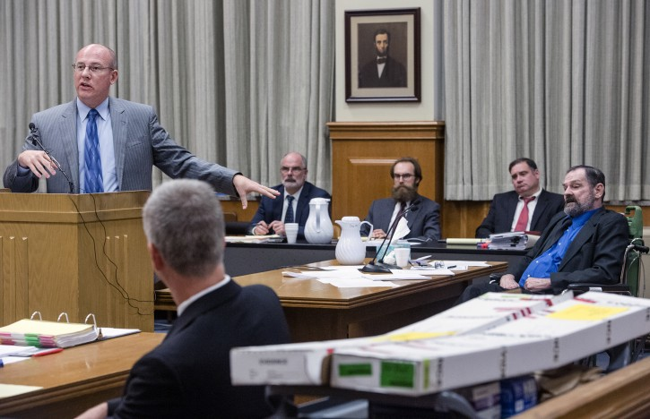 Johnson County District Attorney, Steve Howe, left, gives his closing arguments during the capital murder trial of F. Glenn Miller Jr., right, on Monday, Aug. 31, 2015, in the Johnson County Courthouse in Olathe, Kan. Miller is charged with killing three people at two Jewish sites in the Kansas City area on April 13, 2014.  (Allison Long/The Kansas City Star via AP, Pool)