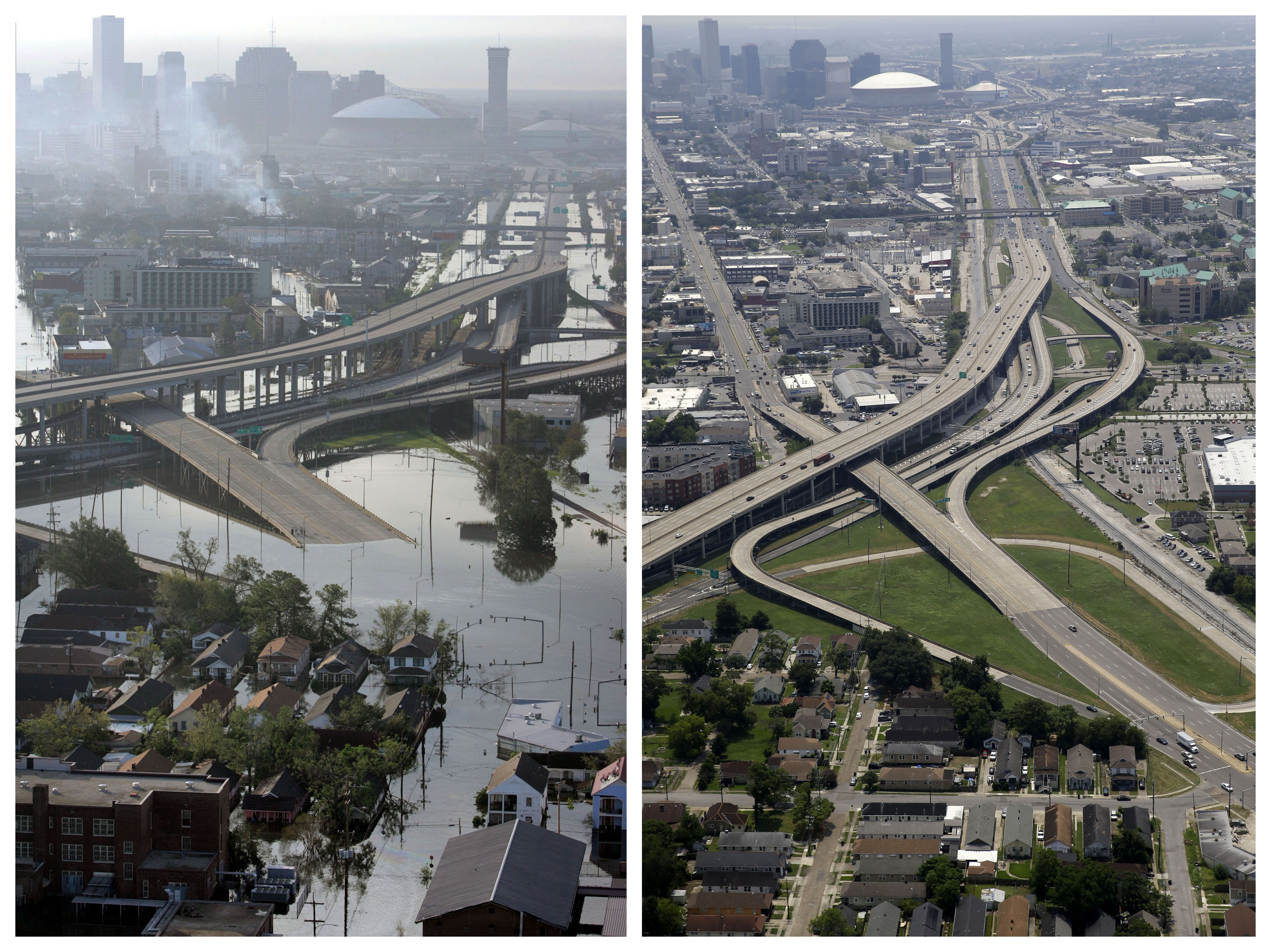 New Orleans - Before And After Images Of Areas Hit By Katrina