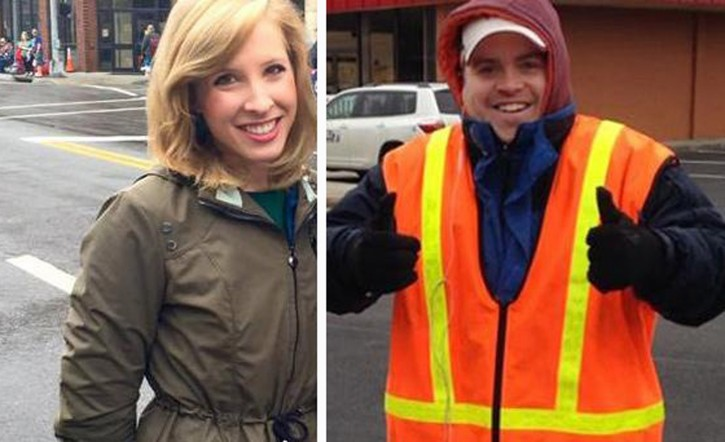 This undated composite photograph made available by WDBJ-TV shows reporter Alison Parker, left, and cameraman Adam Ward. Parker and Ward were fatally shot during an on-air interview, Wednesday, Aug. 26, 2015, in Moneta, Va. . (Courtesy of WDBJ-TV via AP)