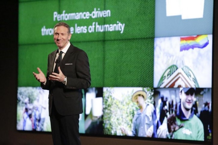 FILE - Starbucks Chairman, President and CEO Howard Schultz speaks at Starbucks biennial investor meeting in Seattle, Washington December 4, 2014.  Reuters
