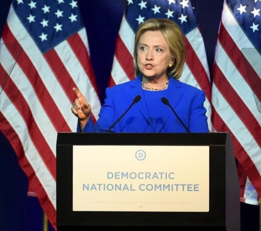FILE - Democratic presidential candidate Hillary Clinton addresses the Democratic National Committee (DNC) Summer Meeting in Minneapolis, Minnesota, August 28, 2015. REUTERS/Craig Lassig