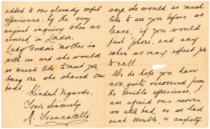 """This undated photo provided by Lion Heart Autographs shows a letter by one of the survivors of the sinking of the Titanic written six months after the disaster, which could fetch $4,000 to $6,000. The letter - saved by a fellow passenger who climbed aboard the so-called """"Money Boat"""" before the ocean liner went down - will be sold by Lion Heart Autographs, along with two other previously unknown artifacts from Lifeboat 1 on Sept. 30, 2015. The auction marks the 30th anniversary of the wreckage's discovery at the bottom of the Atlantic Ocean. (Lion Heart Autographs via AP)"""