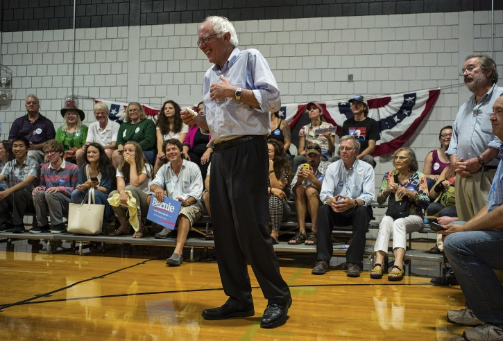 Democratic candidate for United States President, senator Bernie Sanders speaks during a town hall meeting in Conway, New Hampshire, USA, 24 August, 2015.