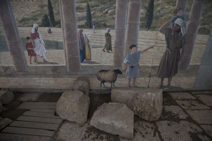 A mural showing the ancient Shiloah pool is seen wher  a 2,000 year-old podium has been found in the City of David at the Shiloah pool at the Old city of Jerusalem, Israel, 31 August 2015. Researchers of the Israel Antiquities Authority estimated that the unique stepped structure situated alongside the 2,000 year old Second Temple stepped street, which carried pilgrims on their way from the Shiloah pool to the Temple Mount was used as a podium for speakers.  EPA/ABIR SULTAN