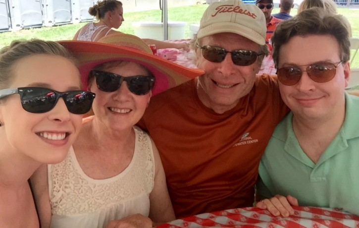 Alison Parker, left, with mother, Barbara Parker; father Andy Parker and brother Drew Parker at Drew's 28th birthday in June. The 24-year-old WBDJ7 reporter was shot and killed on the air Wednesday morning while interviewing a woman in southwest Virginia. (Courtesy of Andy Parker/Courtesy of Andy Parker)