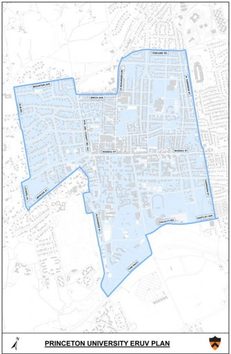 The Map outlines the boundaries of the Eruv at Princeton