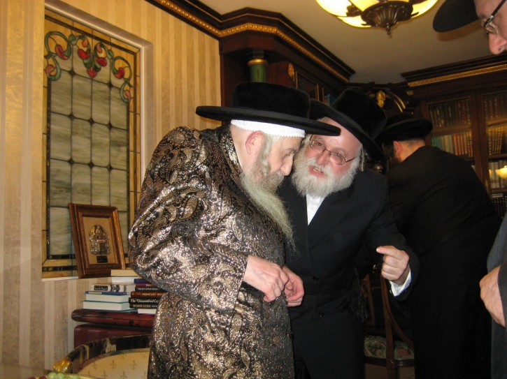 Rabbi Sholom Orgel, long time secretary to the Rebbe, is seen in this undated photo with the Rebbe