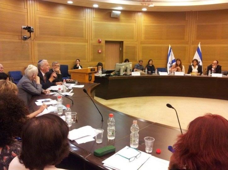 FILE - In the photo, NCC Director, Dr. Yitzhak Kadman (second from left) speaks before the Knesset committee in 2013