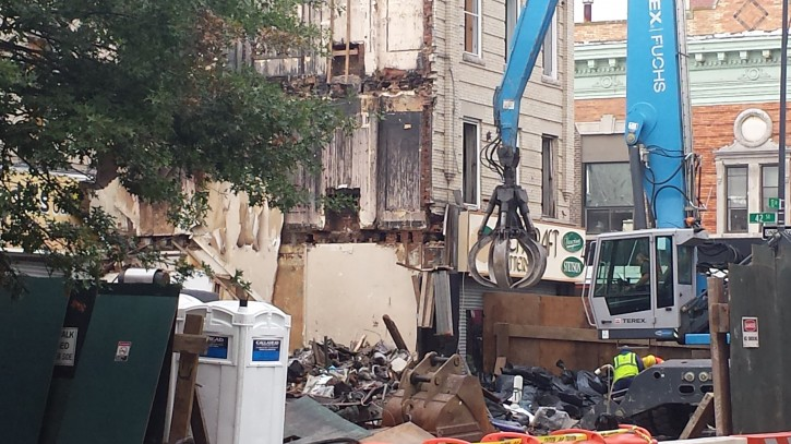 The site of a building explosion, Thursday, Oct. 8, 2015, in the Borough Park section of the Brooklyn borough of New York, (Shimon Gifter/VINnews.com)