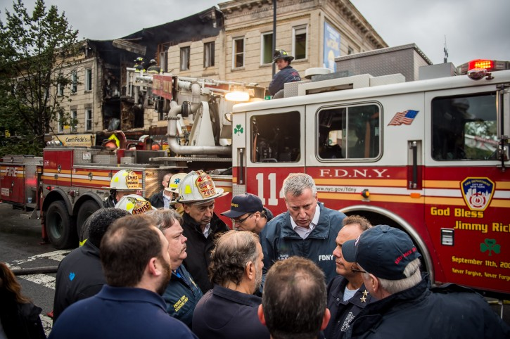 FILE - Mayor Bill de Blasio delivers an update on the building explosion in Borough Park. Saturday, October 3, 2015. Credit: Demetrius Freeman/Mayoral Photography Office.