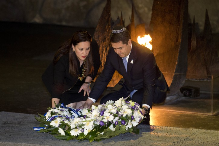 President of the Republic of Honduras  Juan Orlando Hernandez Alvarado (R) and his wife Ana Garcia lay a wreath in the Hall of Remembrances at the Yad Vashem Holocaust Memorial Museum in Jerusalem, Israel, 29 October 2015.  EPA/ABIR SULTAN