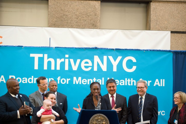 First Lady Chirlane McCray and Deputy Mayor for Strategic Policy Initiatives Richard Buery announce that New York City is setting a goal to screen and treat all pregnant women and new mothers for maternal depression. Bellevue Hospital Atrium, Manhattan. Tuesday, November 17, 2015. Credit: Demetrius Freeman/Mayoral Photography Office.