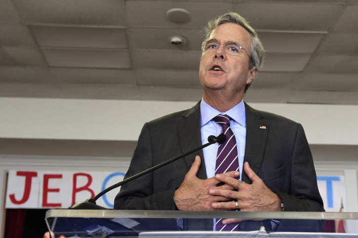 Republican presidential candidate, former Florida Gov. Jeb Bush in Tampa, Fla. One year before Election Day 2016, Republicans are consumed by uncertainty and infighting while Democrats are coalescing behind Hillary Rodham Clinton. But there's a long way to go. (AP Photo/Chris O'Meara)