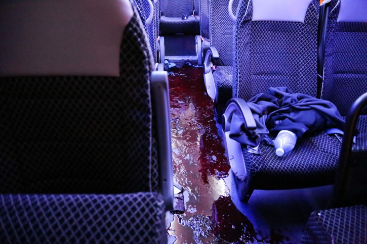 Blood inside a minibus at the scene of a drive-by shooting near the West Bank settlement of Alon Shvut, in the Etzion Bloc, on November 19, 2015.Flash90