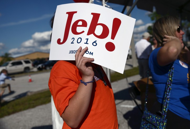 Jacob Parent, 14, of Punta Gorda, Fla. holds a sign over his face while waiting for Republican presidential candidate, former Florida Gov. Jeb Bush to arrive at an outdoor rally before a high school football in Punta Gorda, Fla., Friday, Oct. 30, 2015. (Dorothy Edwards/Naples Daily News via AP)