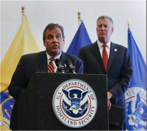 FILE - New Jersey Governor Chris Christie (C) speaks while New York Mayor Bill De Blasio during a news conference following a bi-state meeting on regional security and preparedness in New York, September 15, 2014. U.REUTERS/Shannon Stapleton