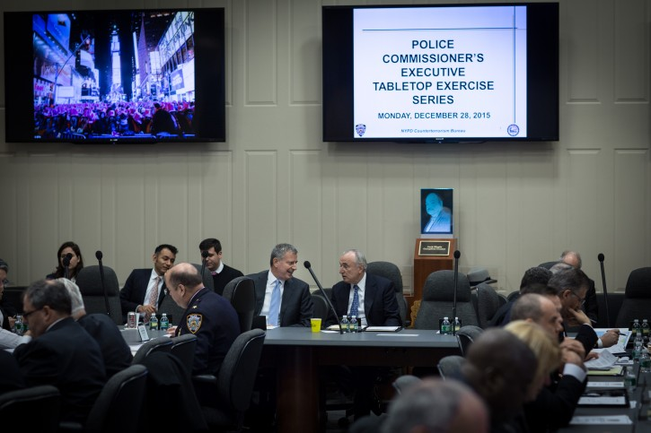 New York City Mayor Bill de Blasio attends a tabletop meeting on New Year's Eve security preparations with Police Commissioner William Bratton and other personnel at NYPD's One Police Plaza in New York on Monday, December 28, 2015. Michael Appleton/ Mayoral Photography Office