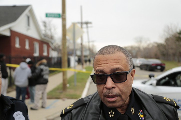 Detroit Police Chief James Craig speaks with reporters Wednesday, Dec. 2, 2015, in Detroit, about 4-year-old that was mauled by four dogs on the city's west side. (Ryan Garza/Detroit Free Press via AP)