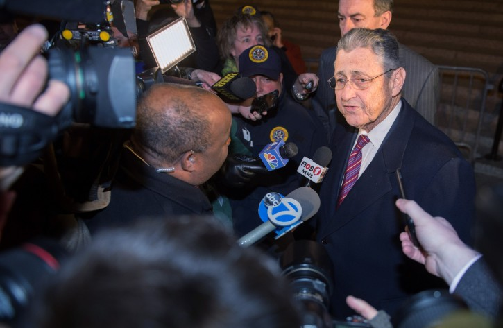 Former New York Assembly Speaker Sheldon Silver speaks as he exits Manhattan federal court following his conviction on corruption charges, Monday, Nov. 30, 2015, in New York. (AP Photo/Bryan R. Smith)
