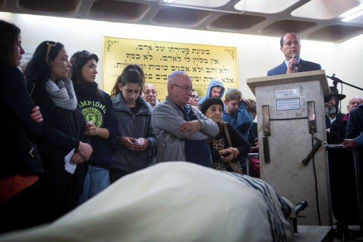 Jerusalem mayor Nir Barkat speaks at the funeral of 46-year old Ofer Ben Ari, in Jeursalem on December 24, 2015. Ben Ari, a father of two girls, was killed yesterday after being mistakenly shot by Israeli police amid the chaos of a terror  attack near Jaffa Gate in Jerusalem. Photo by Miriam Alster/FLASH90