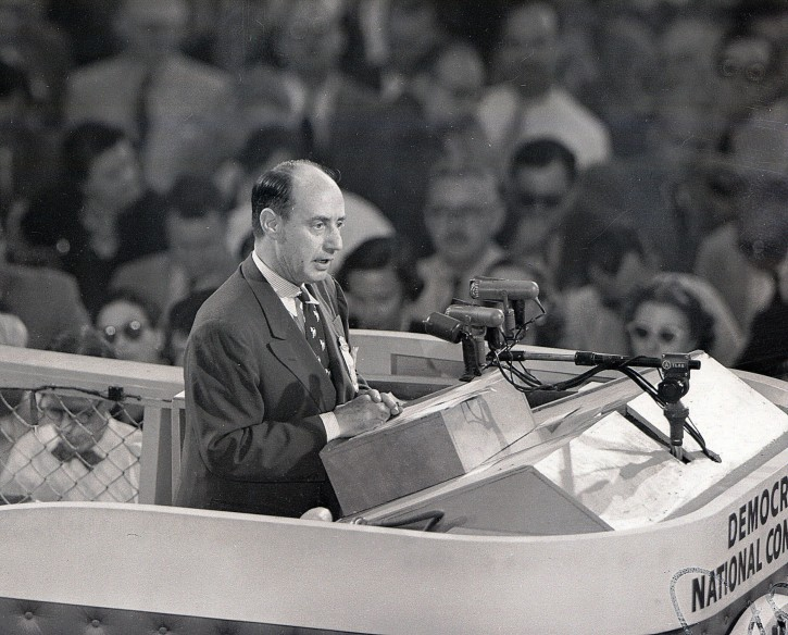 FILE - In this July 25, 1952 file photo, Illinoin Gov. Adlai Stevenson addresses the Democratic National Convention in Chicago. The presidential election cycle is at a point when speculation starts swirling that the primaries won't produce a clear winner and one of the parties' big nominating conventions will dissolve in chaos.  (AP Photo, File)