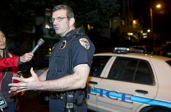 """In this photo taken Monday night, Nov. 30, 2015, Juneau Police Chief Bryce Johnson speaks to reporters about the death of Mayor Stephen """"Greg"""" Fisk in Juneau, Alaska. Fisk, the newly elected mayor of Alaska's capital city, was found dead in his home Monday. Circumstances surrounding the death were not immediately known.  (Michael Penn/The Juneau Empire via AP)"""