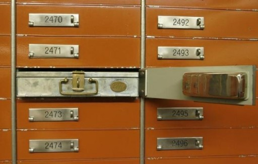 FILE - An empty safe box is pictured in the vault of a Swiss bank in Basel January 21, 2009. REUTERS/Arnd Wiegmann