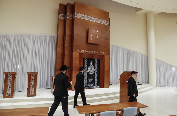 ussian Jews explore the new synagogue during  the opening of the new Jewish cultural center and synagogue in Zhukovka, outside Moscow, Russia, 06 December 2015. The opening of the synagogue coincided with the beginning of the Jewish Festival of Hannukah. Reports state that the new complex cost 20 million US dollars to build.  EPA/SERGEI ILNITSKY