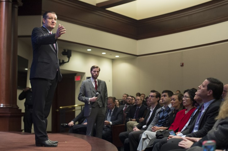 Republican Senator from Texas and 2016 presidential candidate Ted Cruz (L) delivers an address on protecting the US from terrorism and his vision for US foreign policy, at the Heritage Foundation in Washington, DC, USA, 10 December 2015.  EPA/MICHAEL REYNOLDS