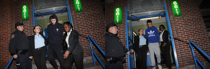 The suspects being led out of the 66 PCT Jan. 31, 2015 (Shimon Gifter/VINnews.com)