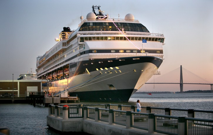 FILE - This Friday, Feb. 26, 2010 file photo shows the cruise ship Celebrity Mercury docked at the South Carolina State Ports Authority passenger terminal in downtown Charleston S.C., after passengers became sick with a stomach bug. (AP Photo/Mic Smith, File)