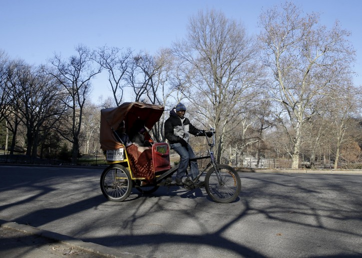 A pedicab driver gives a tour of Central Park in New York, Tuesday, Jan. 19, 2016. A city plan to improve working conditions for Central Park's carriage horses also contains a provision that would protect their turf by banning pedicabs from the parts of the park frequented by tourists. (AP Photo/Seth Wenig)