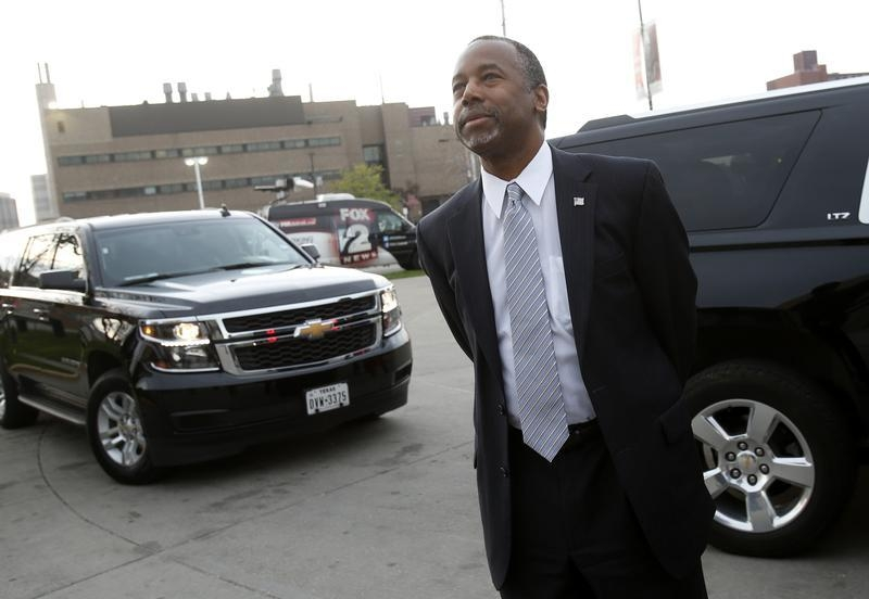 Carson is seen near his motorcade as he visits the Dr. Benjamin Carson ...