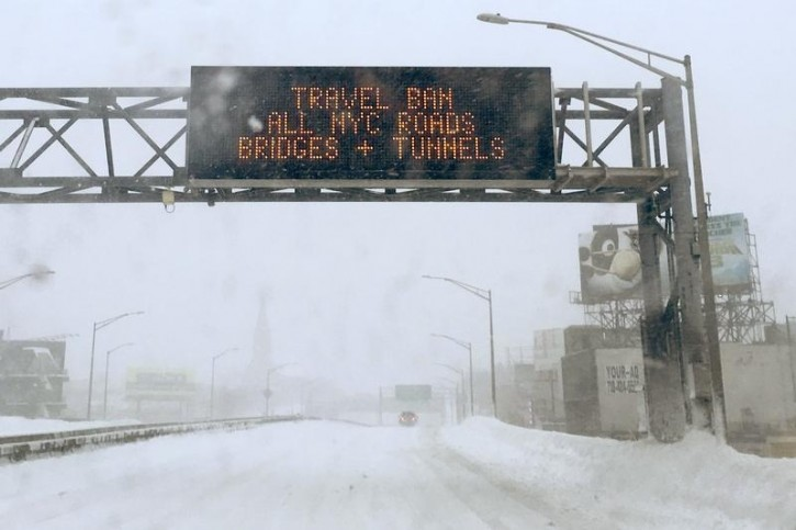 A travel ban adversary is posted on the Long Island Expressway in the Queens borough of New York January 23, 2016. REUTERS/Shannon Stapleton