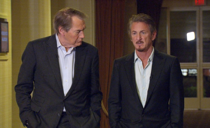 """This Jan. 14, 2016 image released by CBS News/60 Minutes shows Charlie Rose, left, with actor Sean Penn during an interview in Santa Monica, Calif., about Penn's meeting with Mexican drug lord Joaquin """"El Chapo"""" Guzman. The interview will air Sunday on """"60 Minutes."""" (CBS News/60 Minutes via AP)"""